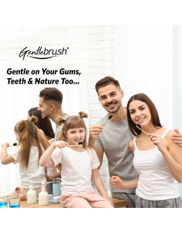 Familiy Pack of 3 (Flat + S-Curve +Rounded) Bamboo Toothbrush by The Mouth Company – Gentlebrush