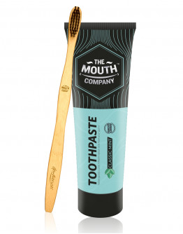 The Mouth Company Classic Mint 100 gm Toothpaste Combo with S-Curve Handle Bamboo Toothbrush