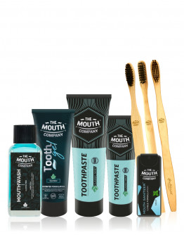 The Mouth Company Premium Oral-Care Mint Collection Gift Pack with Bamboo Toothbrudsh Family Pack