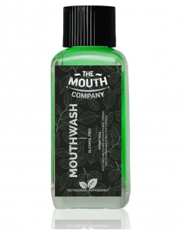 The Mouth Company Peppermint 100ml Mouthwash (Alcohol Free) and Mint Mouth Sanitizer Combo with  Flat  Handle Bamboo Toothbrush