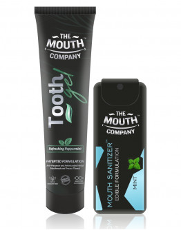 The Mouth Company Peppermint Toothgel 20 gm Combo with Mint Mouth Sanitizer