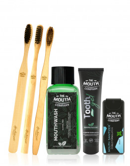 The Mouth Company Peppermint 20 gm Toothgel, 100ml Mouthwash (Alcohol Free) and Mint Mouth Sanitizer Gift Pack along with Gentlebrush Family Pack