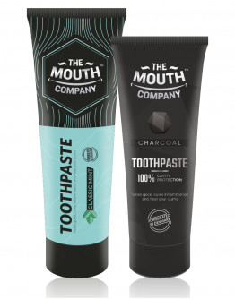 The Mouth Company Classic Mint 100 gm Toothpaste Combo with Charcoal 75gm Toothpaste