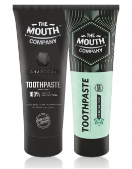 The Mouth Company Charcoal 75 gm Toothpaste Combo with Herbal Mix 75gm Toothpaste