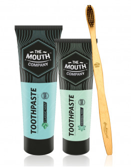 The Mouth Company Classic Mint 100 gm Toothpaste and Herbal Mixl 75gm Toothpaste Combo with S-Curve Handle Bamboo Toothbrush