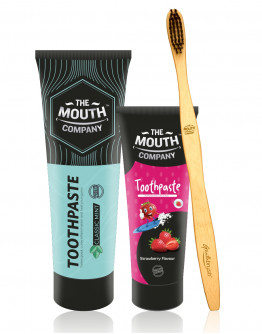 The Mouth Company Classic Mint 100 gm Toothpaste and Strawberry  50gm Toothpaste Combo with S-Curve Handle Bamboo Toothbrush