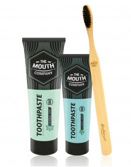 The Mouth Company Classic Mint 50 gm Toothpaste and Herbal Mixl 75gm Toothpaste Combo with Flat  Handle Bamboo Toothbrush
