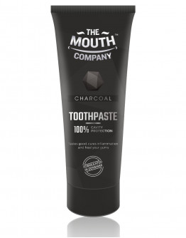 The Mouth Company Charcoal 75 gm Toothpaste and Strawberry  50gm Toothpaste Combo with Rounded Handle Bamboo Toothbrush
