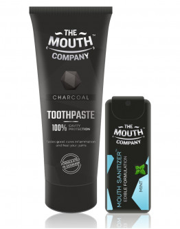 The Mouth Company Charcoal 75gm Toothpaste Combo with Mint Mouth Sanitizer Spray