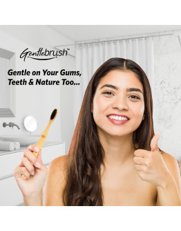 Gentlebrush - Flat (Low Pressure) Premium Bamboo Toothbrush (Pack of 3) with Charcoal Activated Bristles