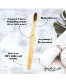 Gentlebrush - S-Curve (Medium Pressure) Premium Bamboo Toothbrush (Pack of 3) with Charcoal Activated Bristles